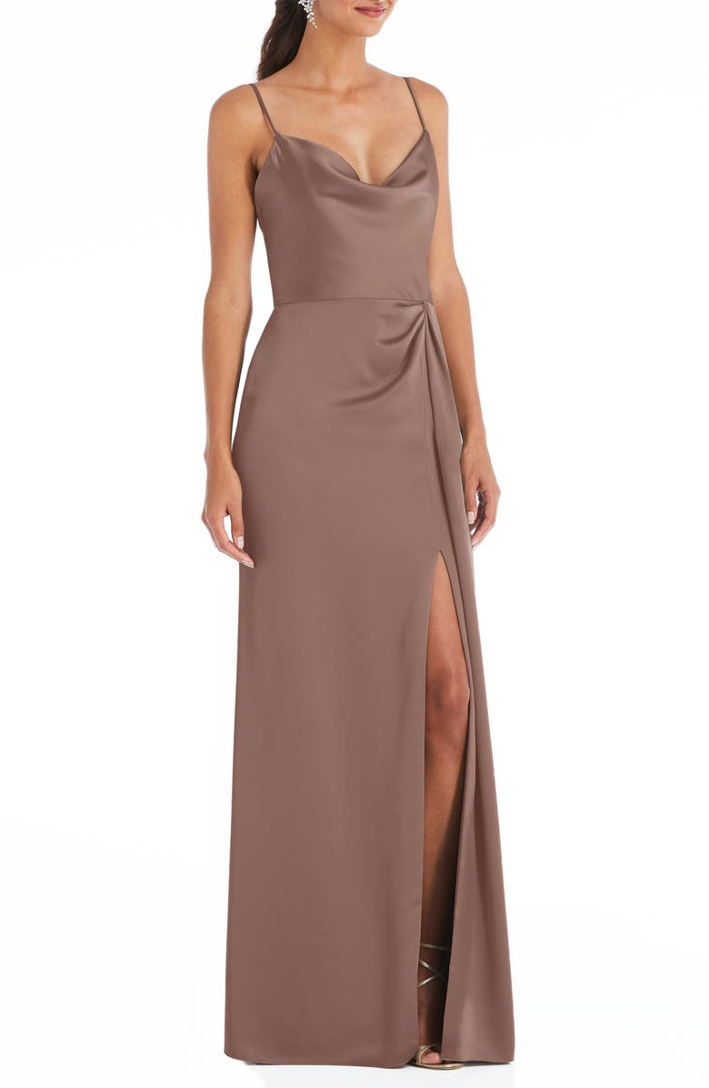 DESSY COLLECTION Cowl Neck Evening Gown, Main, color, SIENNA