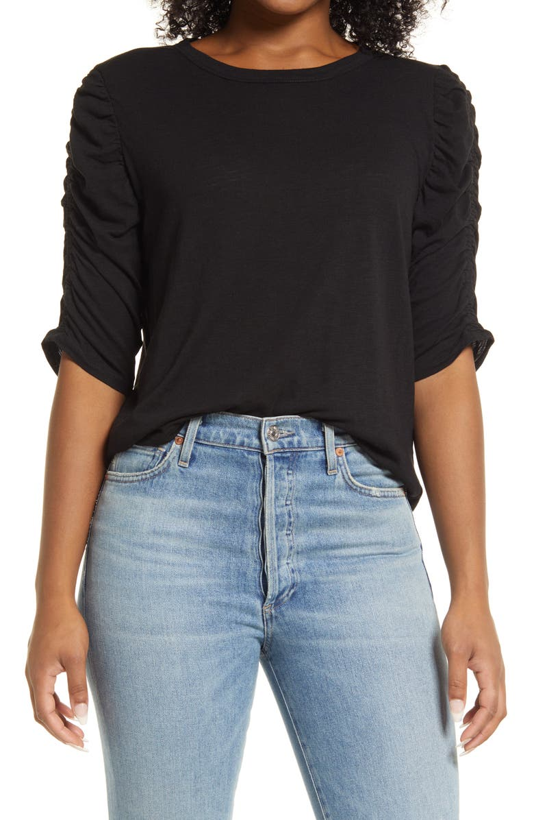 WIT & WISDOM Ruched Sleeve T-Shirt, Main, color, BLACK