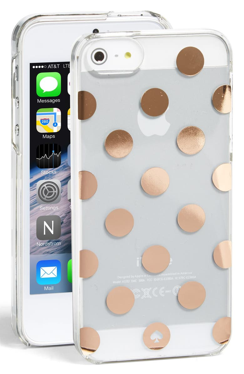 KATE SPADE NEW YORK 'le pavillion' iPhone 5 & 5s case, Main, color, CLEAR/ROSE GOLD
