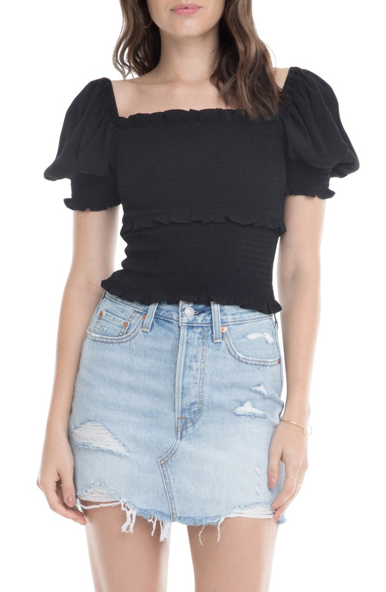 ASTR THE LABEL Glenna Smocked Puff Sleeve Top, Main, color, BLACK