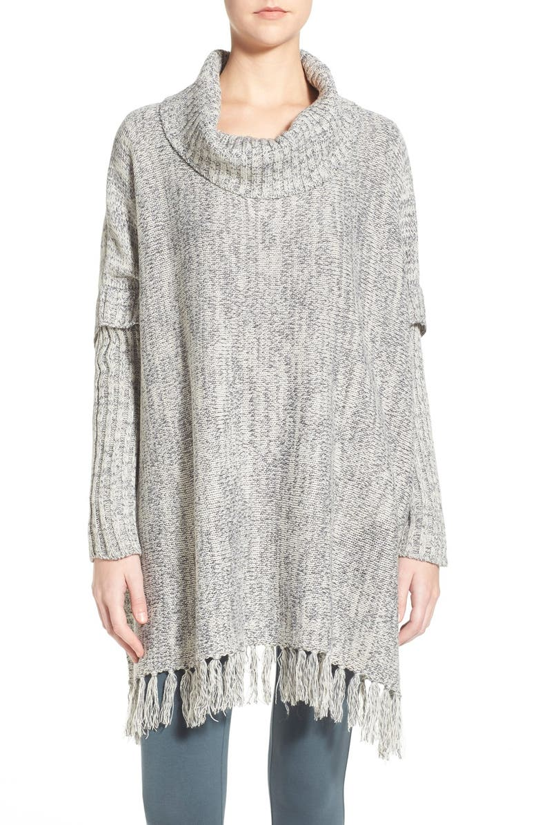 LOVE BY DESIGN Cowl Neck Fringe Poncho, Main, color, 070
