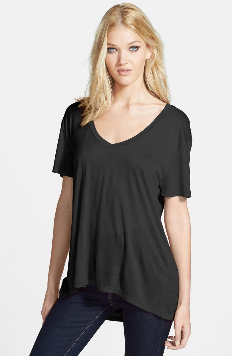LEITH Oversized V-Neck Tee, Main, color, 001