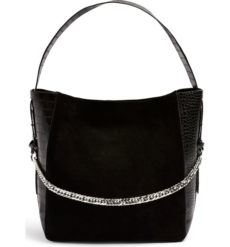 TOPSHOP Laurie Hobo Bag, Main, color, 001