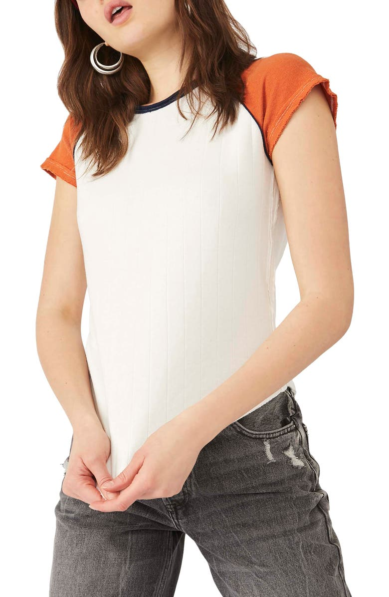 FREE PEOPLE Block It Baby T-Shirt, Main, color, WHITE COMBO