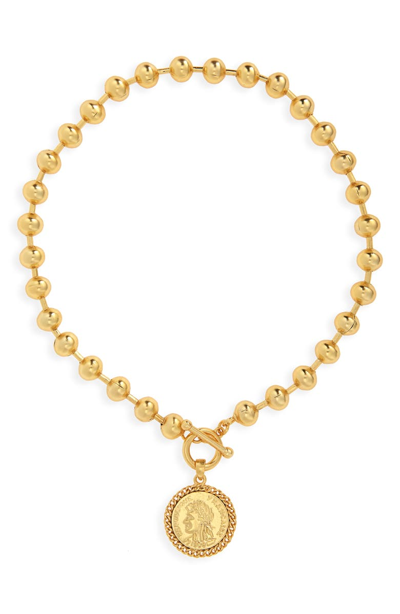 KARINE SULTAN Beaded Coin Medallion Pendant Necklace, Main, color, Gold