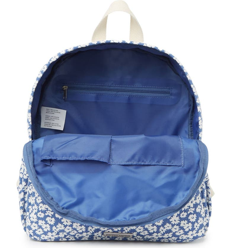 MADDEN GIRL Printed Canvas Mid Backpack, Main, color, BLUE FLORAL
