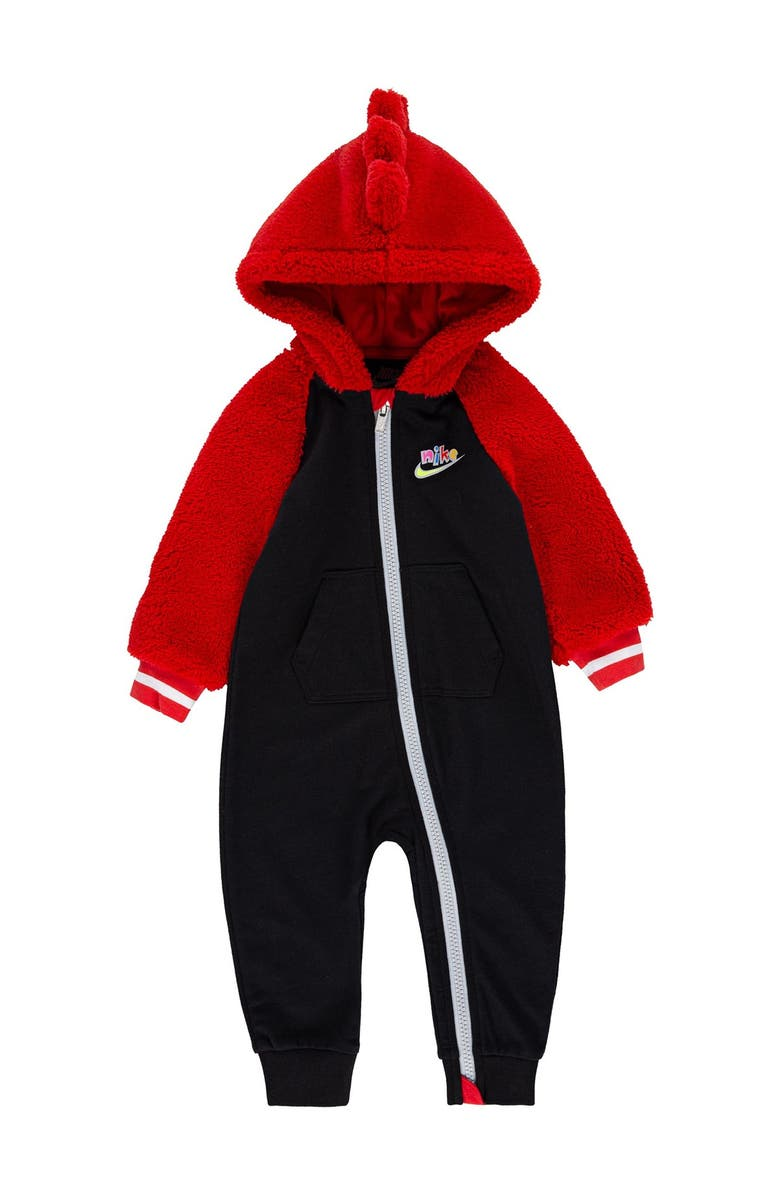 NIKE Zigzag Hooded Romper, Main, color, BLACK