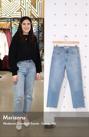 Wedgie High Waist Raw Hem Straight Leg Jeans, sales video thumbnail