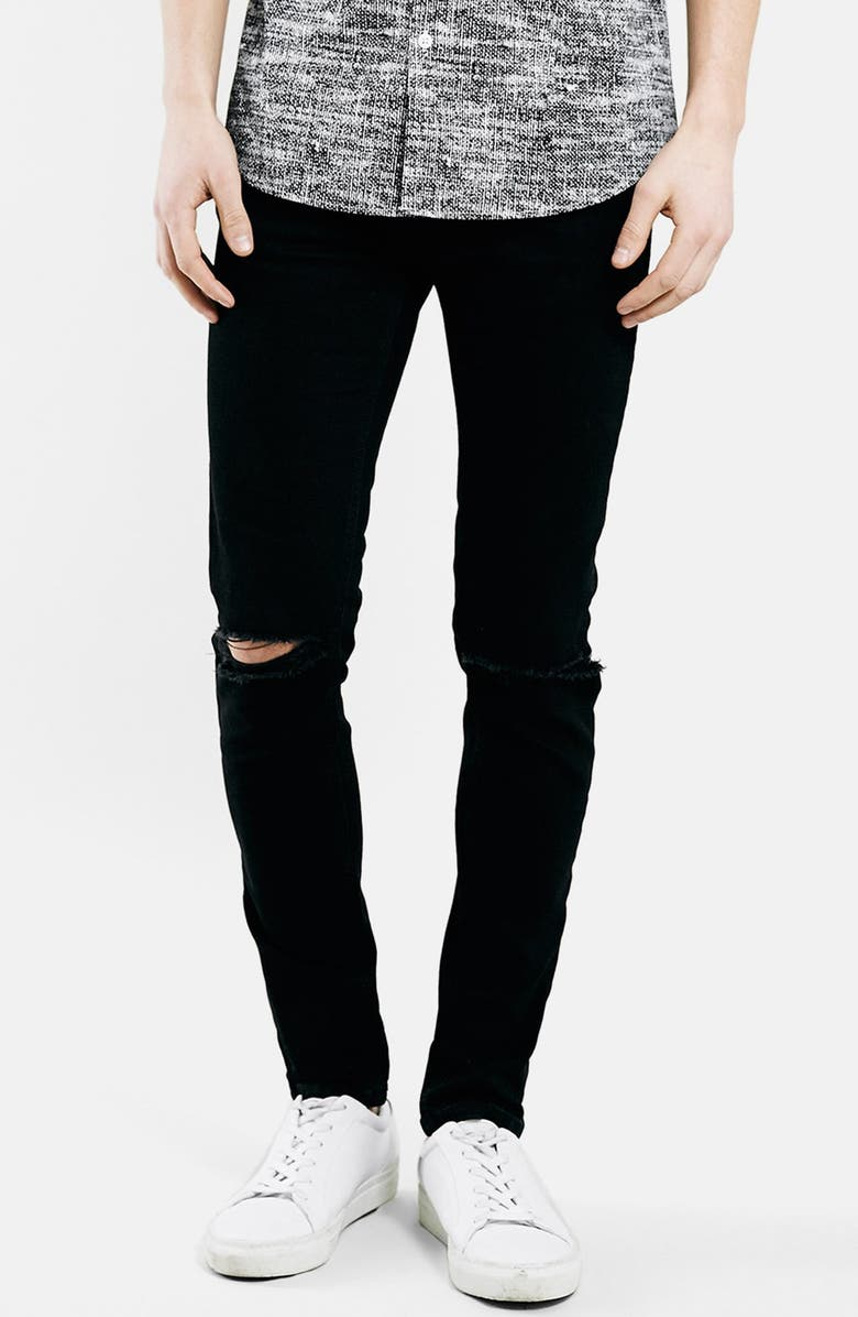 TOPMAN Ripped Stretch Skinny Fit Jeans, Main, color, Black