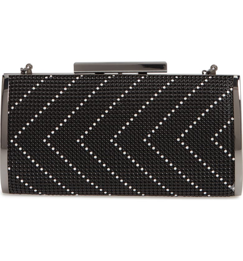 WHITING & DAVIS Chevron Crystal Embellished Clutch, Main, color, 001