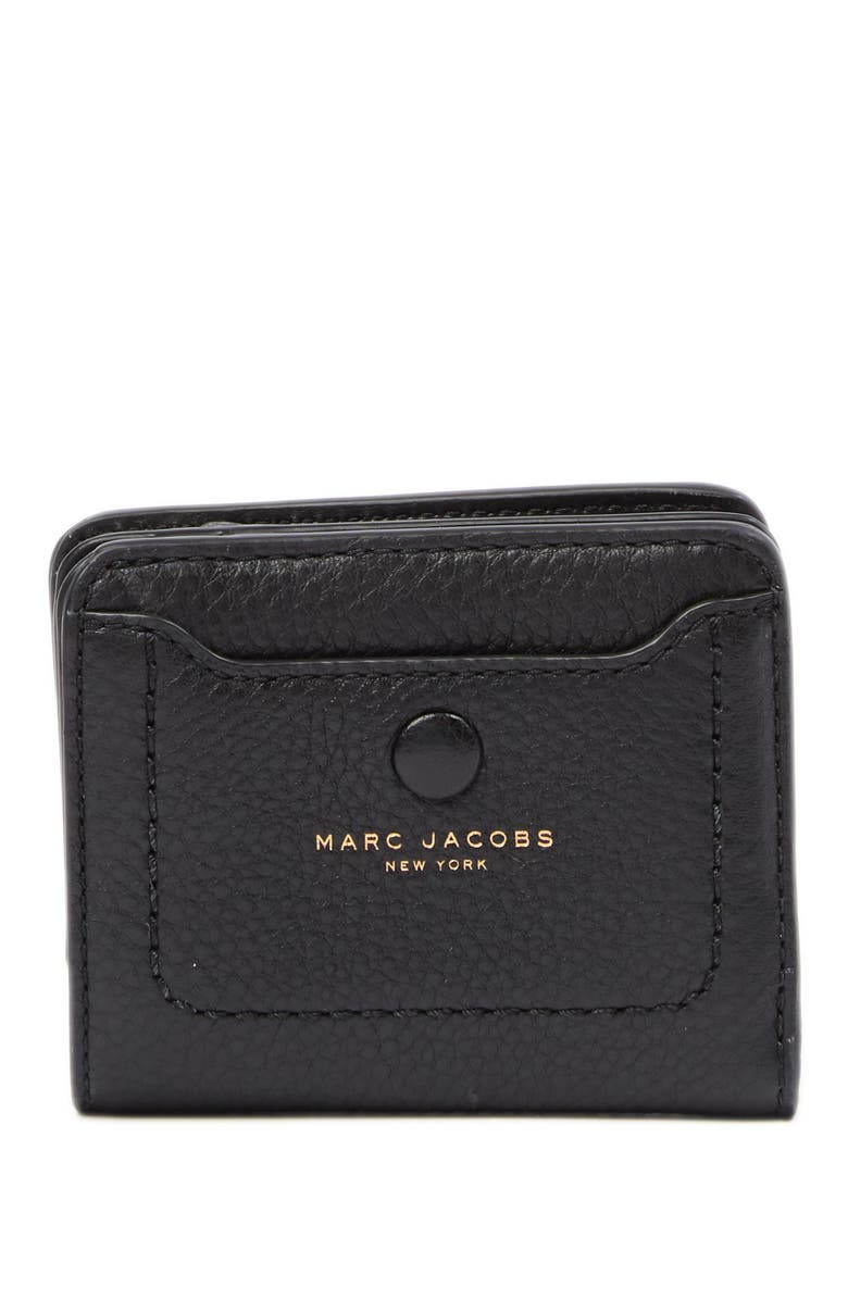 MARC JACOBS Empire City Mini Compact Leather Coin Wallet, Main, color, BLACK