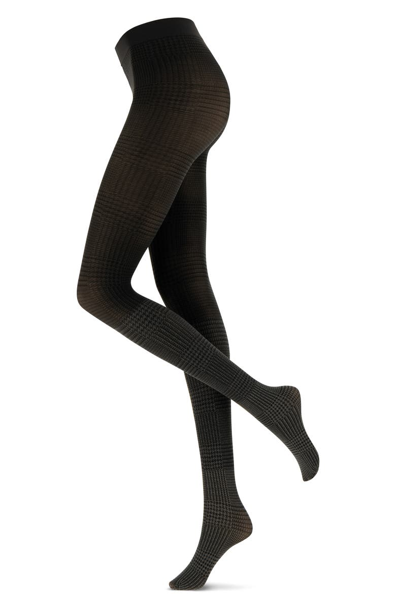 OROBLU Glen Plaid Opaque Tights, Main, color, SHADED GREY