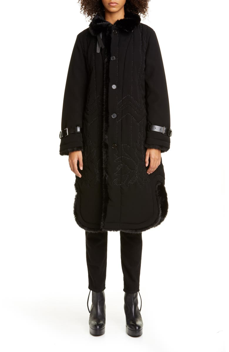NOIR KEI NINOMIYA Faux Fur Lined Embroidered Coat, Main, color, 001