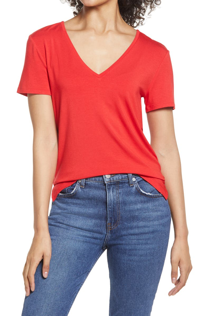 HALOGEN<SUP>®</SUP> V-Neck Tunic T-Shirt, Main, color, RED CHINOISE