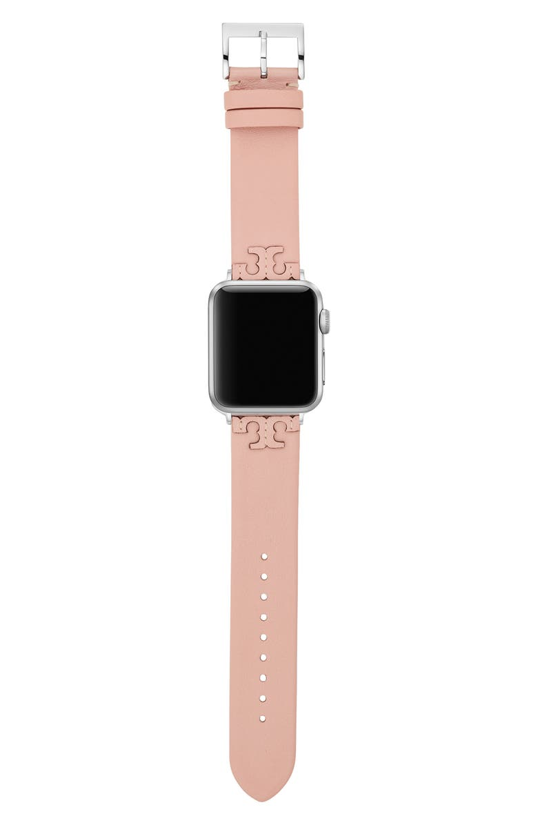 TORY BURCH McGraw Leather Strap for Apple Watch<sup>®</sup>, 38mm/40mm, Main, color, BLUSH