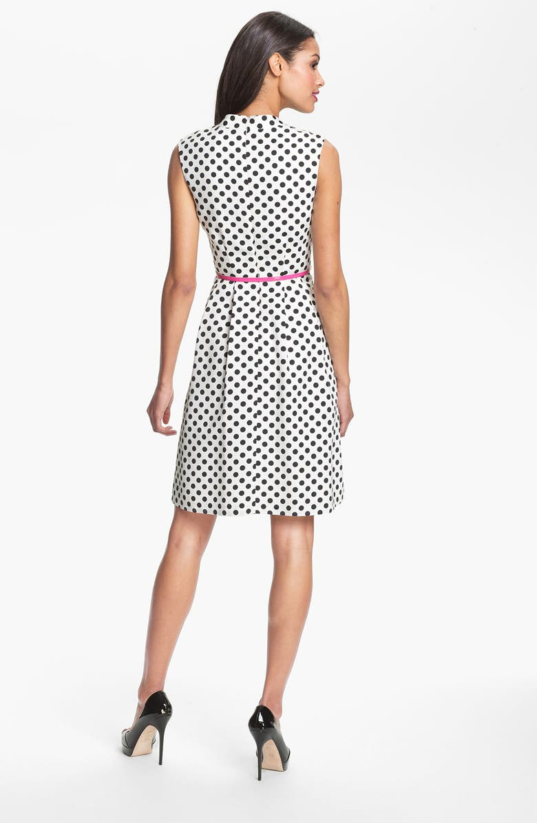 ADRIANNA PAPELL Polka Dot Fit & Flare Dress, Main, color, WHITE/ BLACK