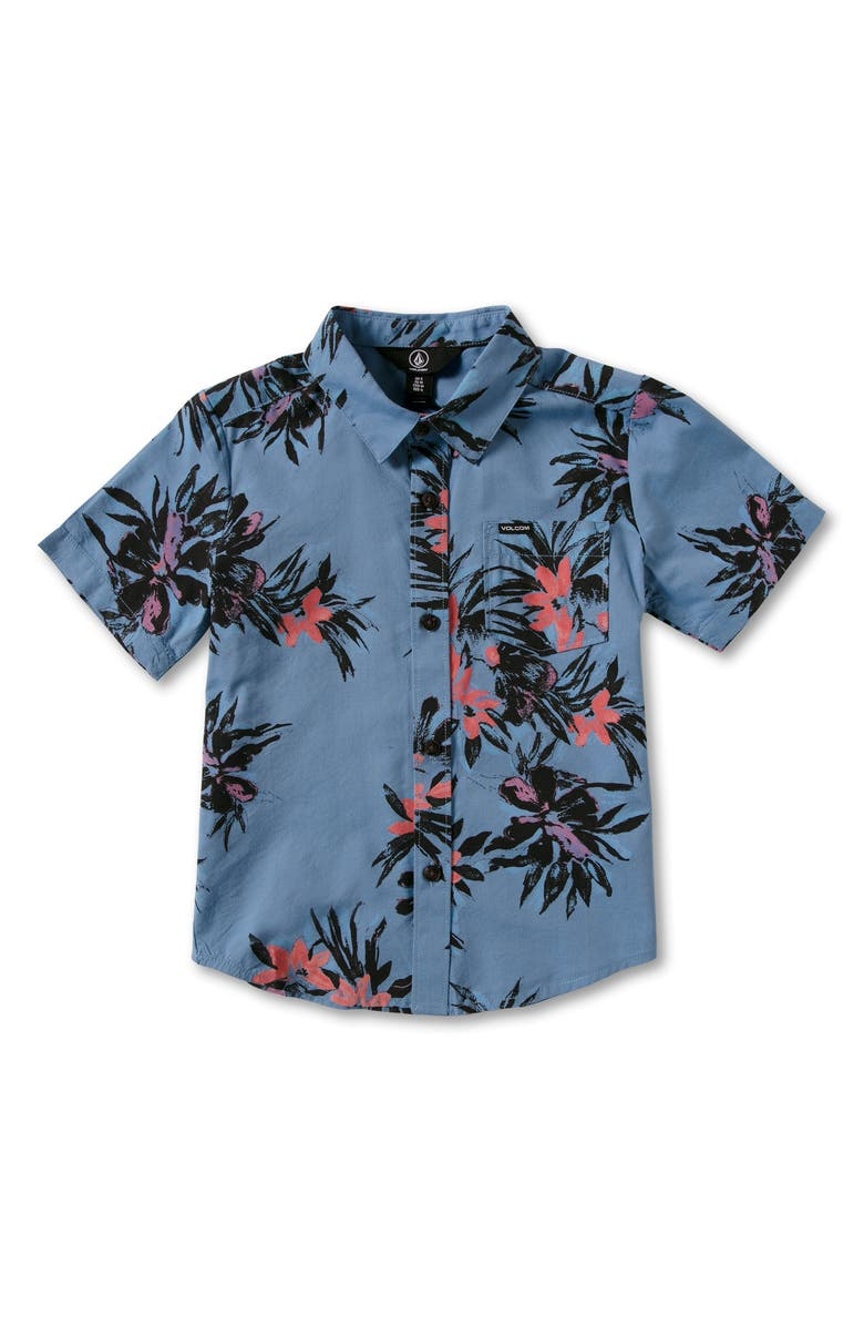 VOLCOM Kids' Floral with Cheese Short Sleeve Button-Up Shirt, Main, color, 400