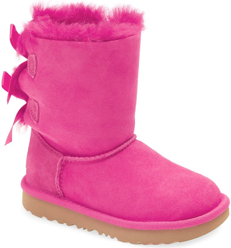 UGG<SUP>®</SUP> Bailey Bow II Water Resistant Genuine Shearling Boot, Main, color, ROCK ROSE