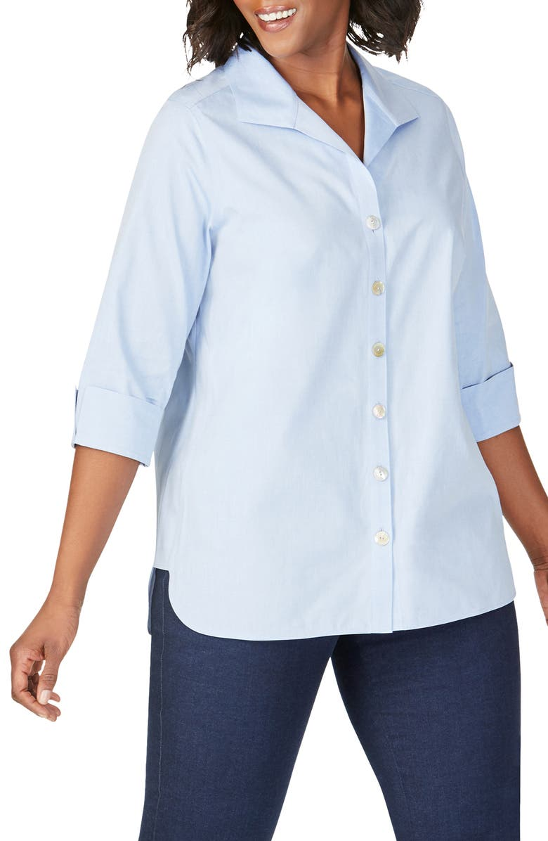 FOXCROFT Pandora Non-Iron Tunic Shirt, Main, color, BLUE WAVE