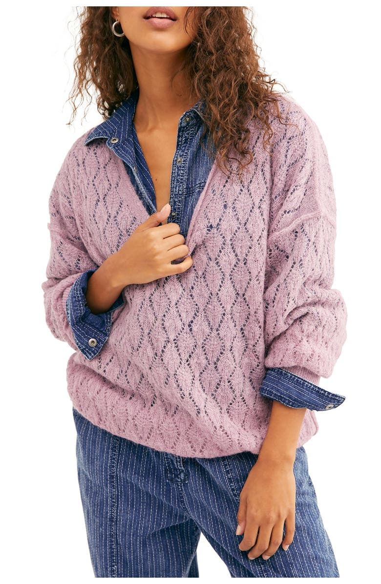 FREE PEOPLE Say Hello Oversized Tunic Sweater, Main, color, LILAC