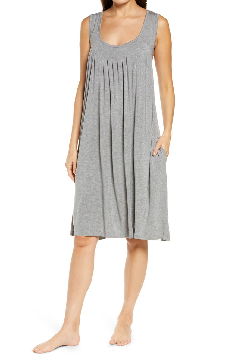 PAPINELLE Pleated Chemise, Main, color, DARK GREY