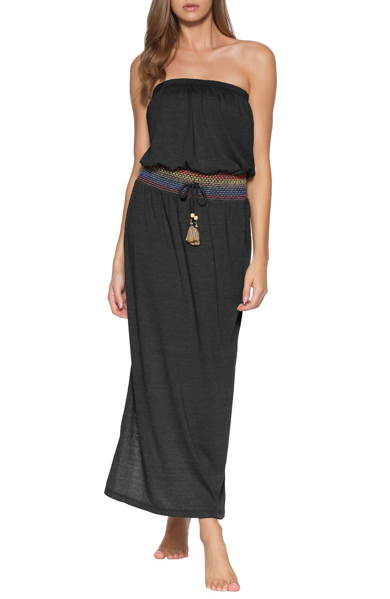 SOLUNA Sunset Smocked Cover-Up Maxi Dress, Main, color, SMOKE