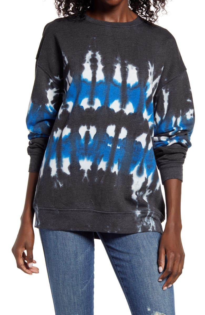 TREASURE & BOND Tie Dye Cotton Blend Sweatshirt, Main, color, CHARCOAL- BLUE COMBO