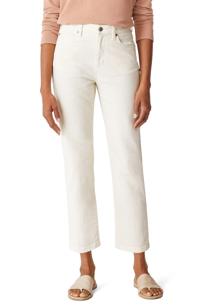 EILEEN FISHER High Waist Straight Leg Ankle Jeans, Main, color, BEIGE