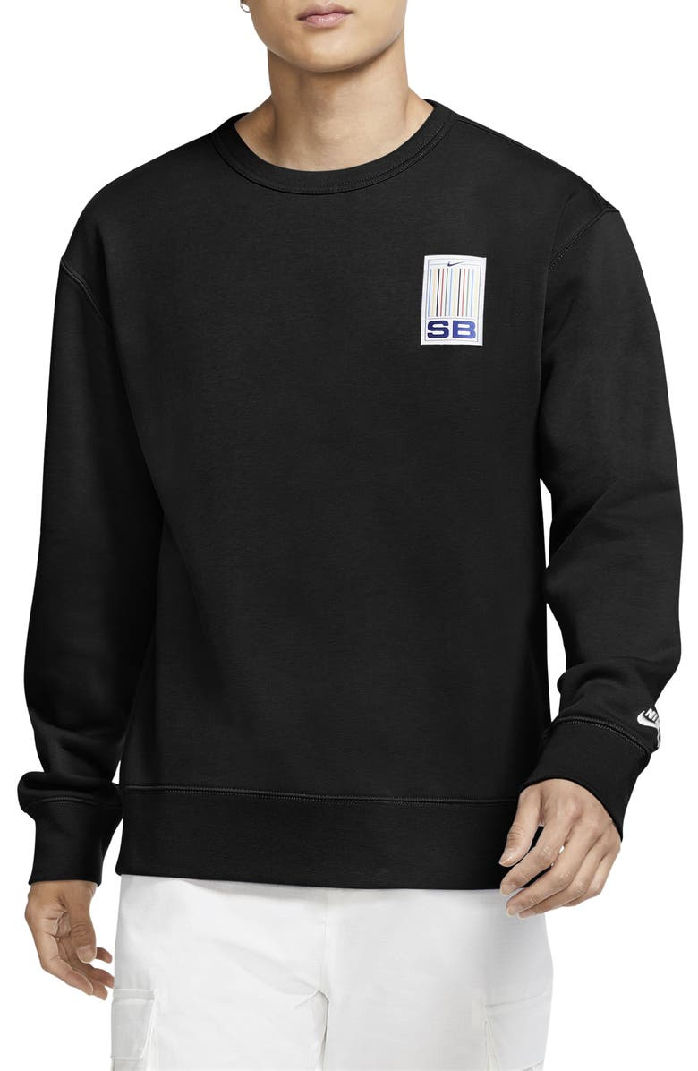 NIKE SB Nike Stripes Crewneck Sweatshirt, Main, color, BLACK/ WHITE