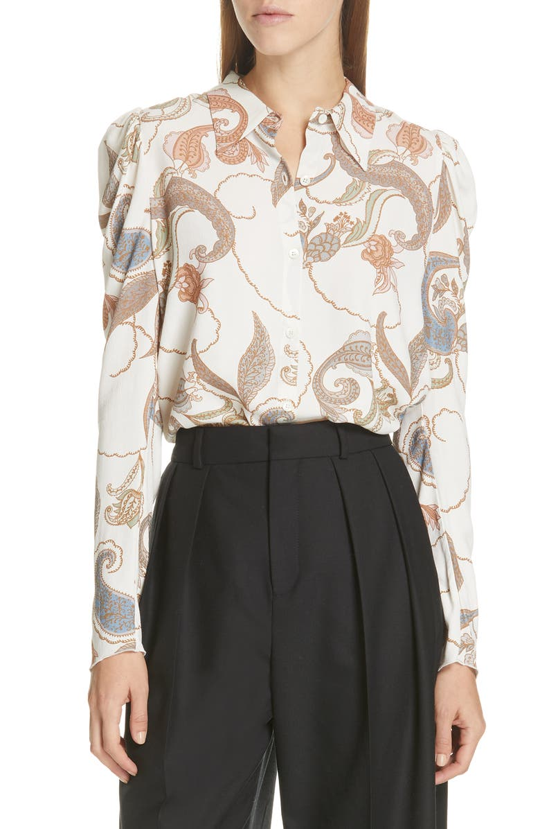 SEE BY CHLOÉ Paisley Puff Sleeve Blouse, Main, color, 250