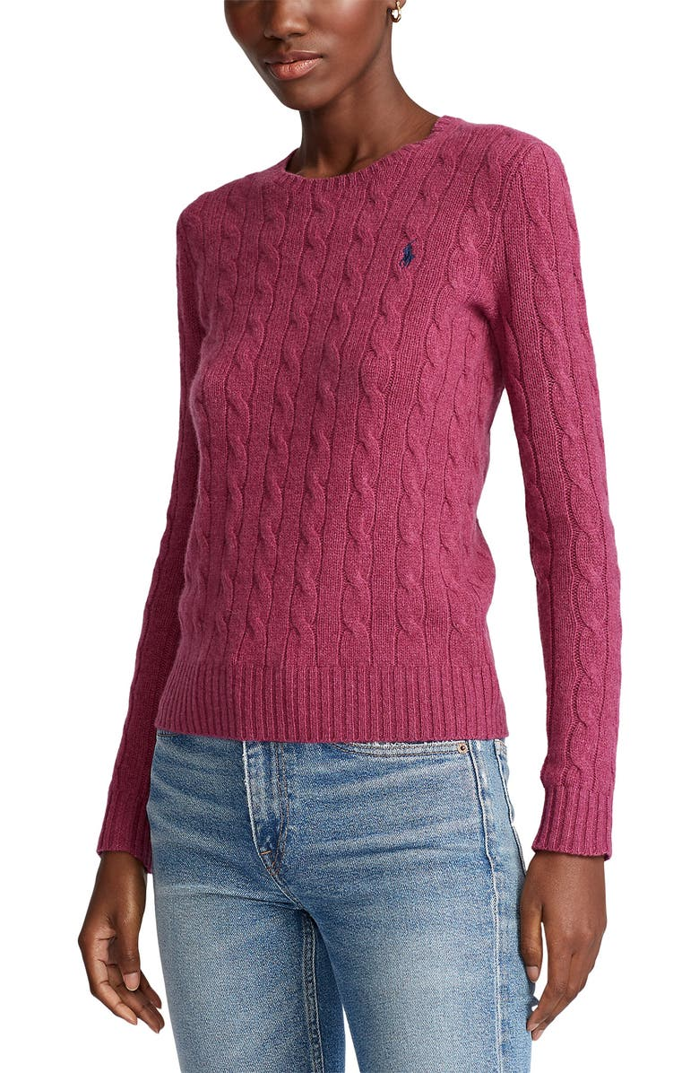POLO RALPH LAUREN Julianna Wool & Cashmere Cable Sweater, Main, color, 650