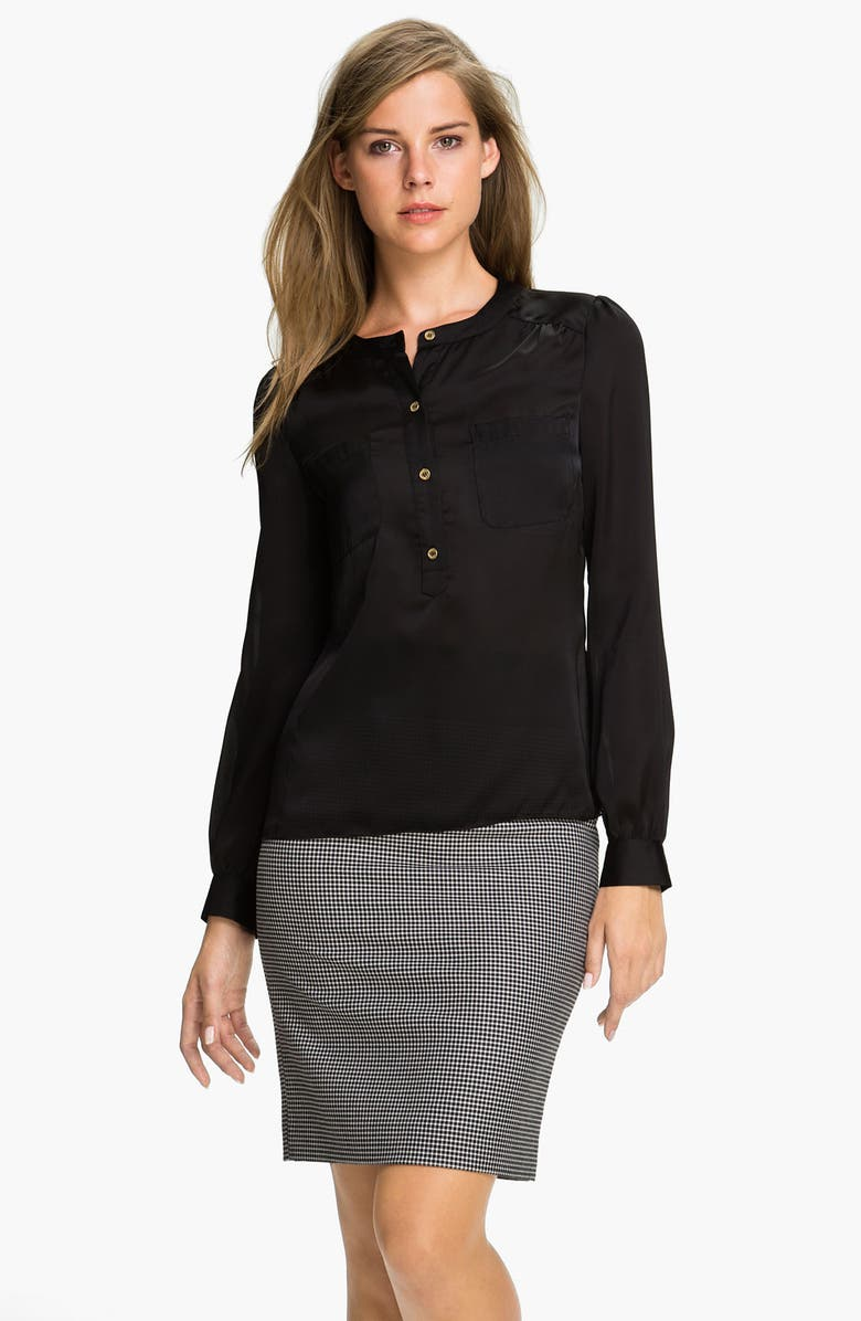 VINCE CAMUTO Henley Blouse, Main, color, 001