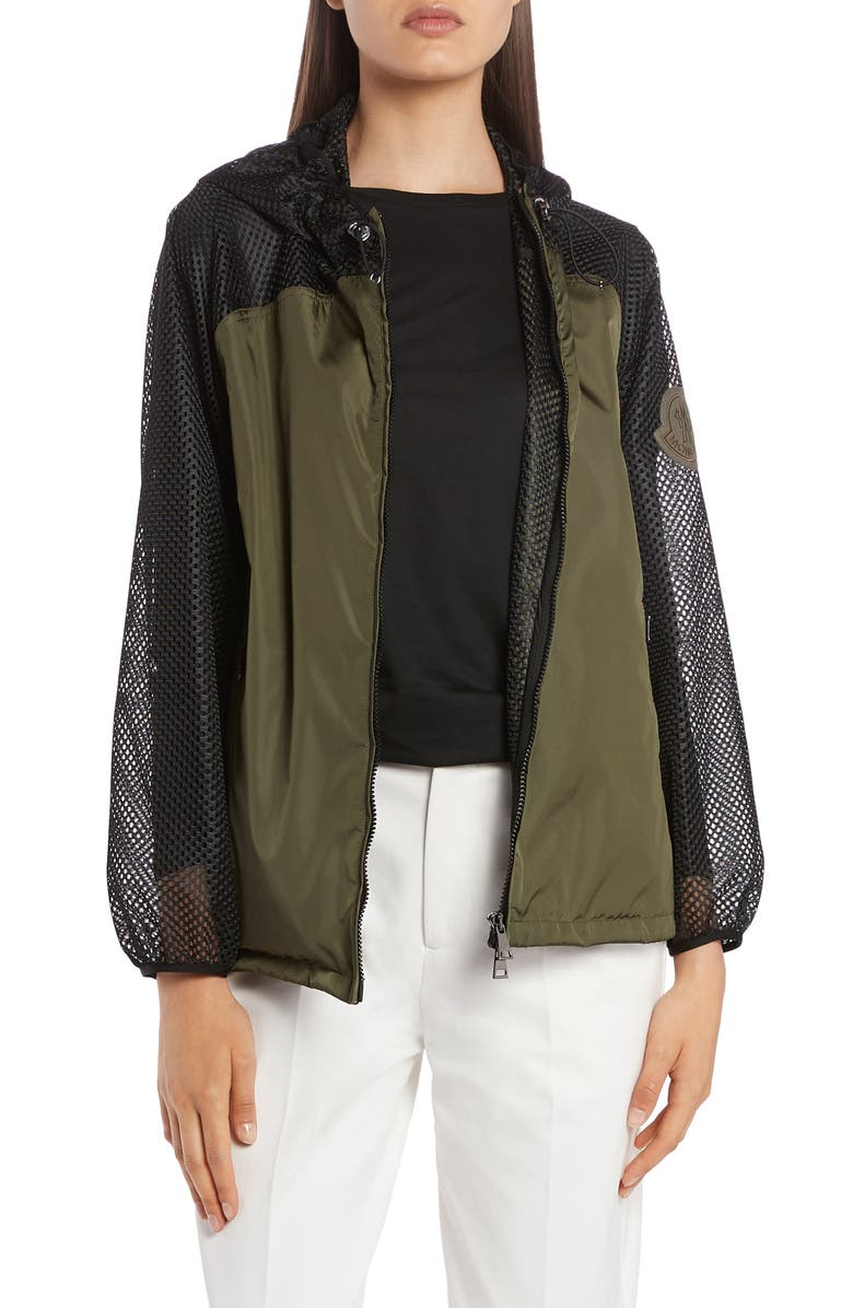 MONCLER Persan Mesh Contrast Hooded Jacket, Main, color, 309