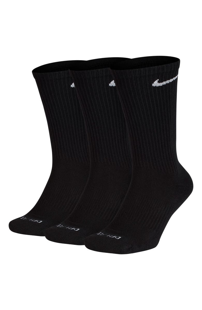NIKE Dry 3-Pack Everyday Plus Cushion Crew Training Socks, Main, color, BLACK/ WHITE