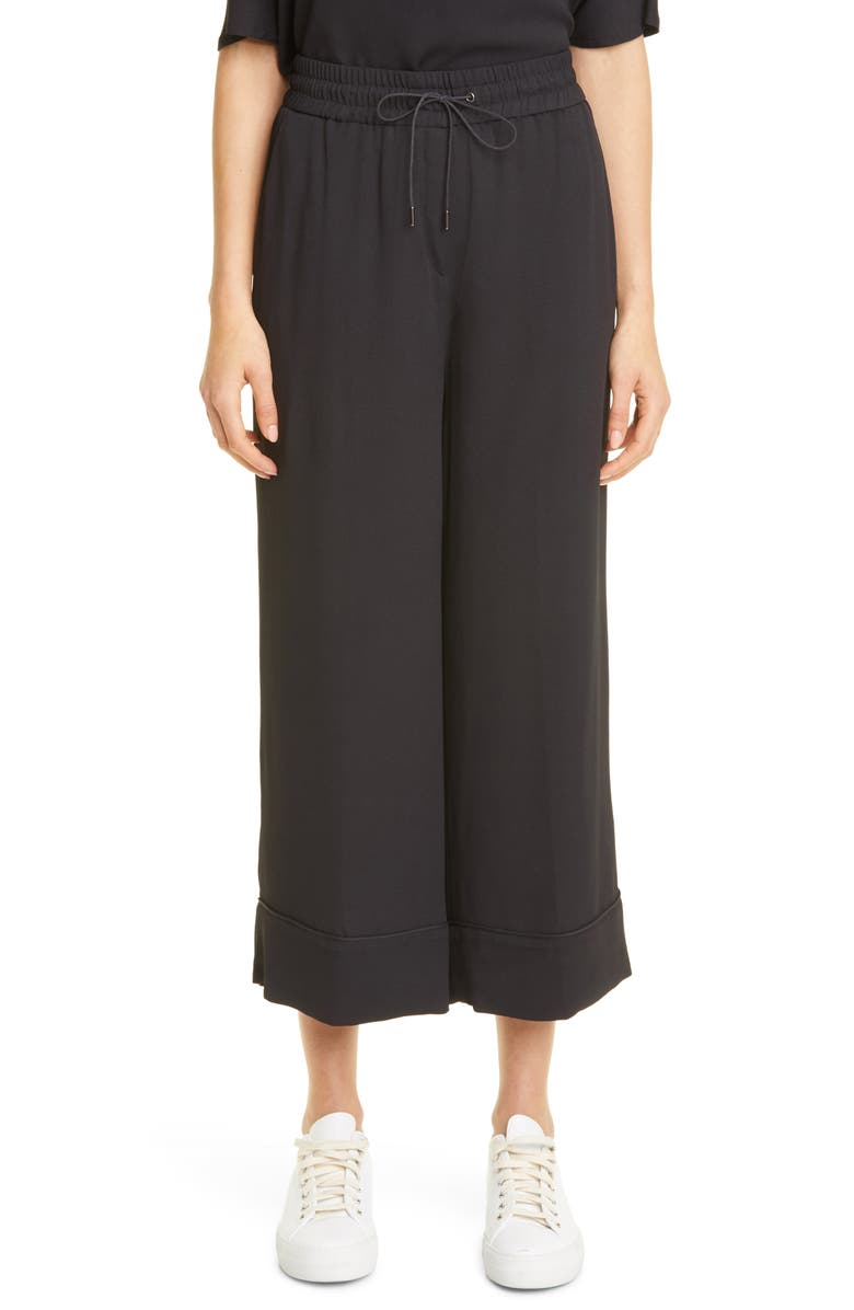 FABIANA FILIPPI Wide Leg Crop Pants, Main, color, BLACK