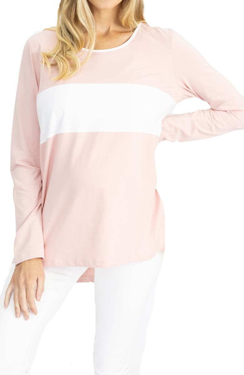 ANGEL MATERNITY Colorblock Long Sleeve Maternity/Nursing Top, Main, color, PINK AND WHITE