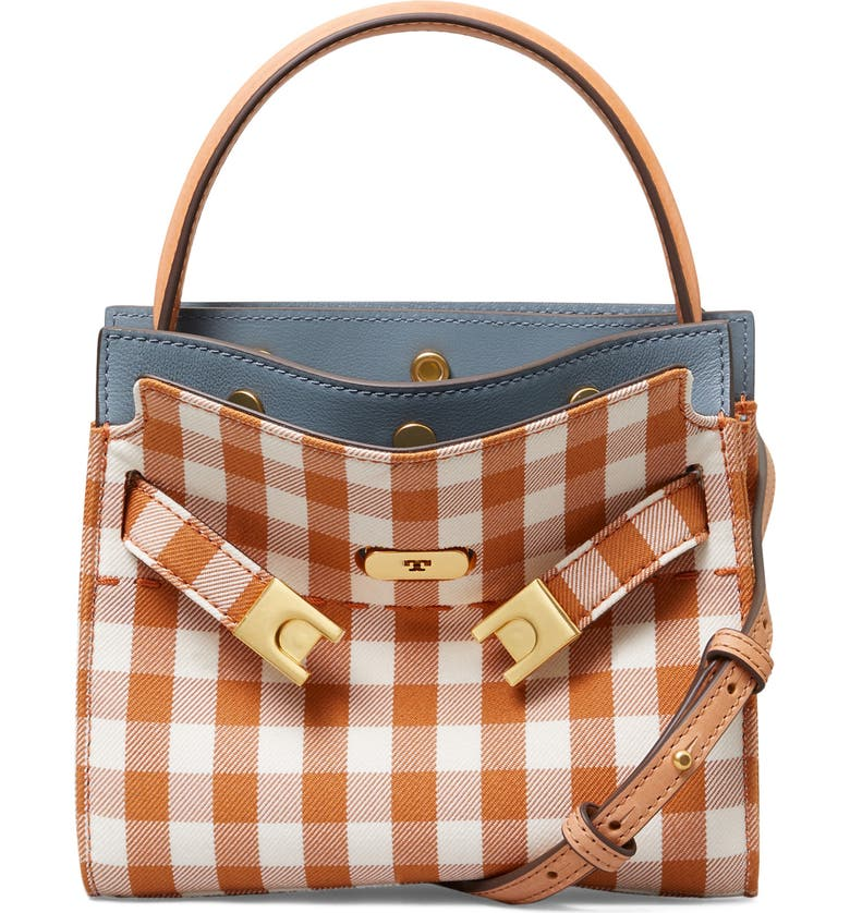 TORY BURCH Petite Lee Radziwill Gingham Double Shoulder Bag, Main, color, OCHRE GINGHAM