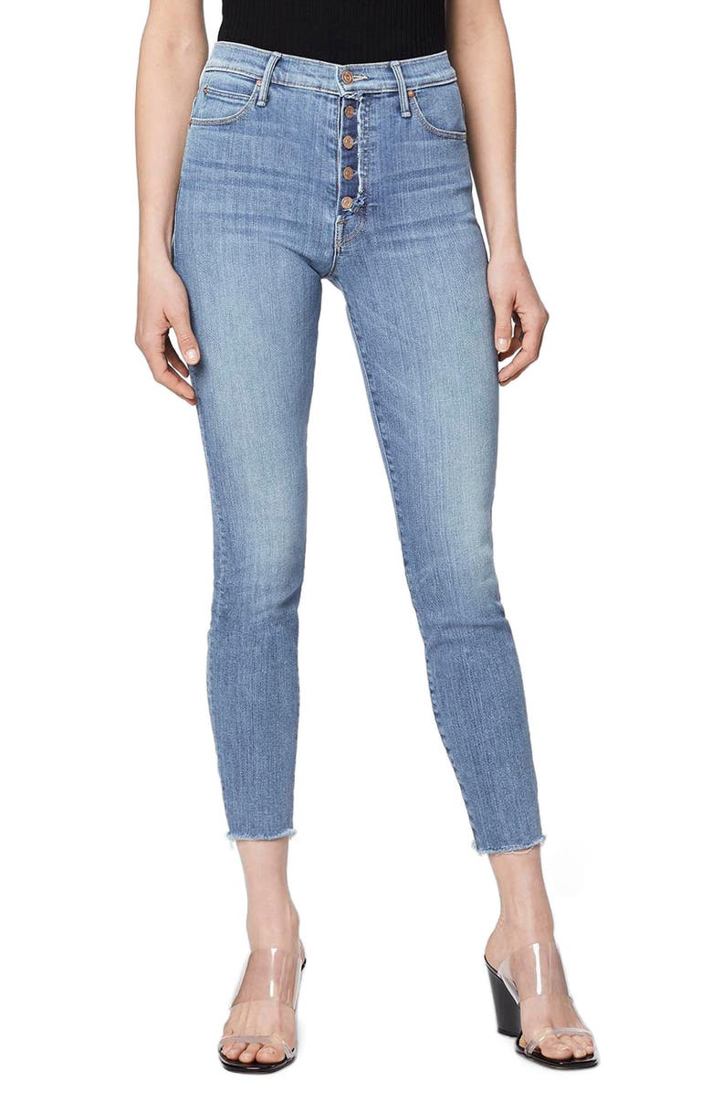 MOTHER The Fly Cut Stunner High Waist Fray Ankle Skinny Jeans, Main, color, 420