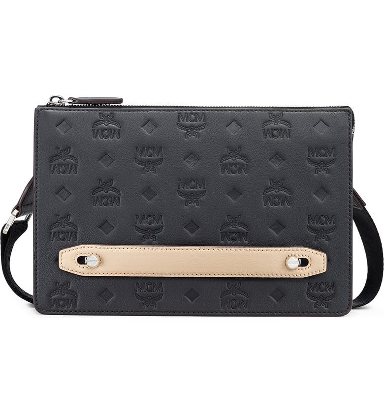 MCM Klara Monogrammed Leather Pouch, Main, color, 001