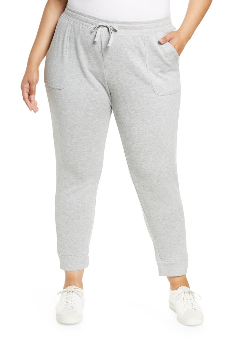 CASLON<SUP>®</SUP> Knit Ankle Joggers, Main, color, GREY HEATHER