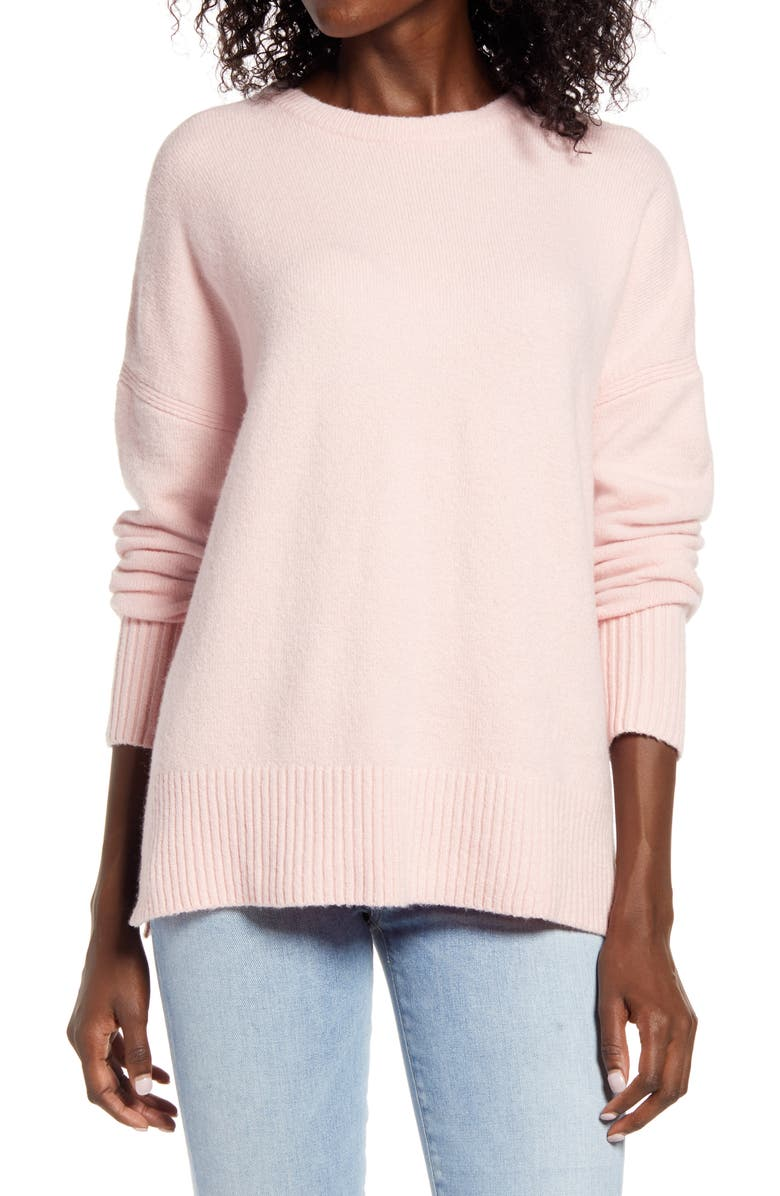 TREASURE & BOND Crewneck Pullover, Main, color, PINK SILVER