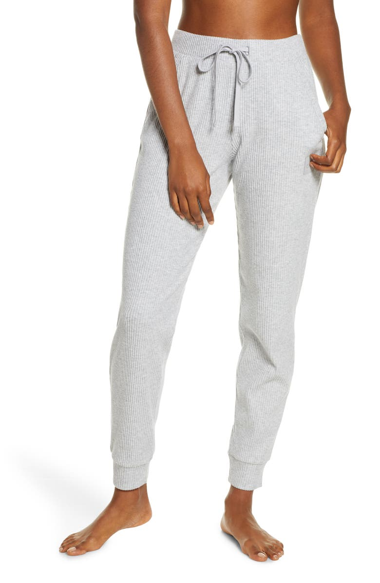 ALO Muse Ribbed High Waist Sweatpants, Main, color, ATHLETIC HEATHER GREY