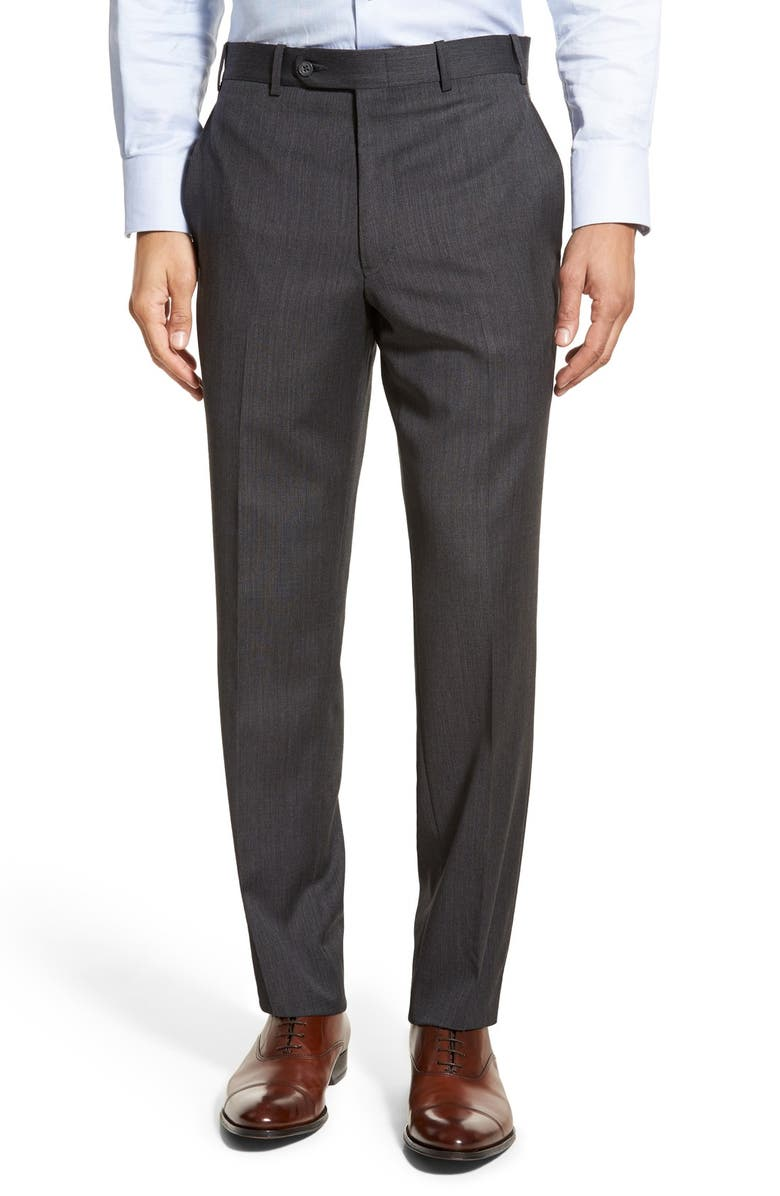JB BRITCHES Torino Flat Front Solid Wool Trousers, Main, color, CHARCOAL