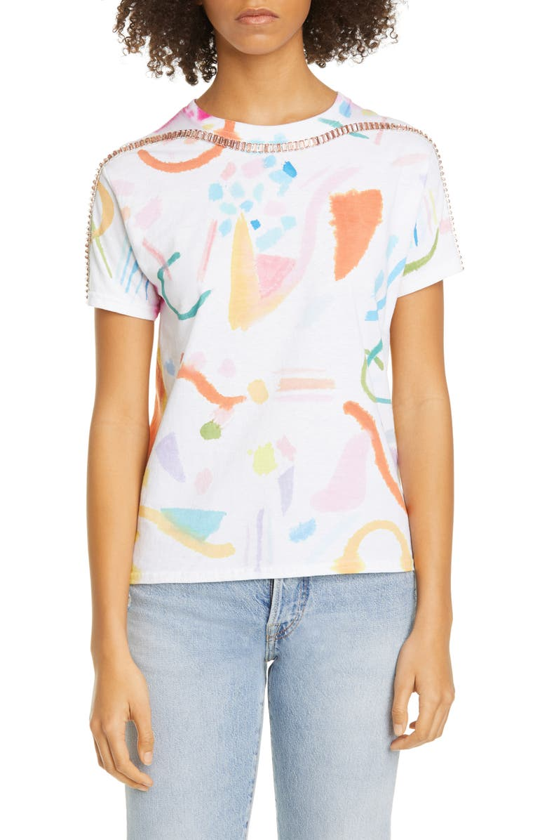 COLLINA STRADA Sporty Spice Embellished Mixed Print T-Shirt, Main, color, 270
