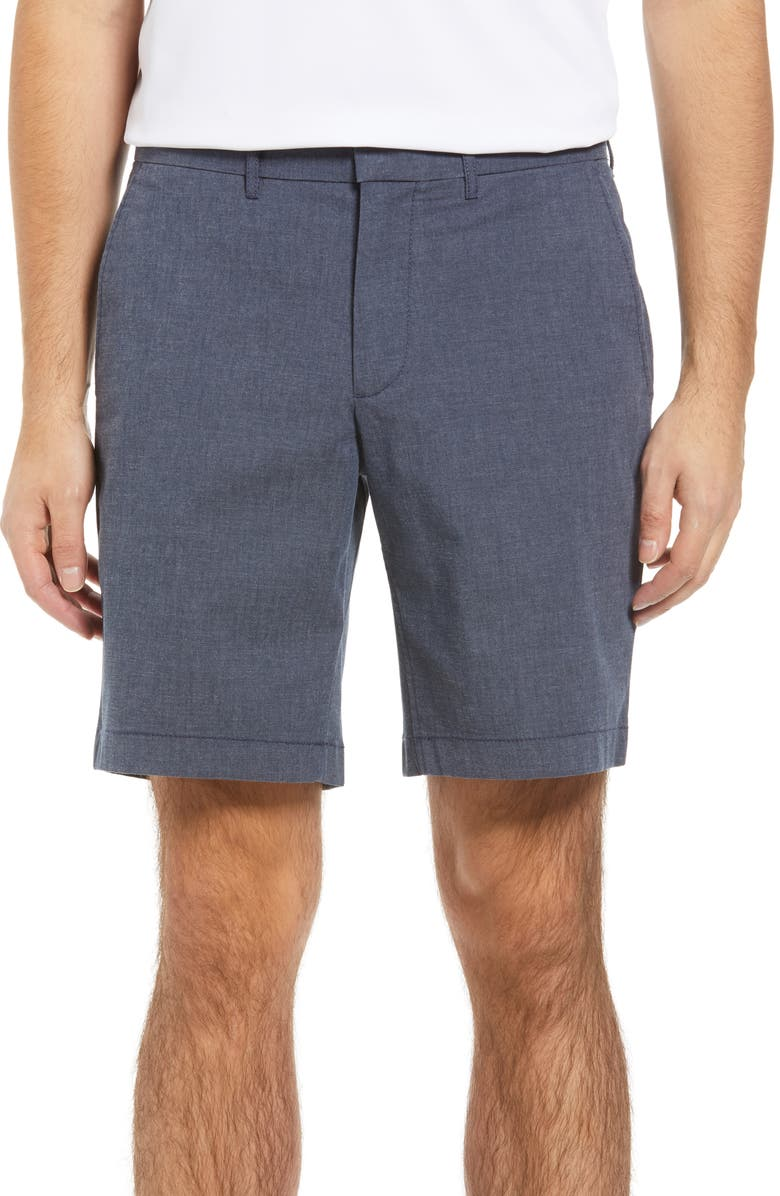 NORDSTROM Slim Fit CoolMax<sup>®</sup> Flat Front Performance Chino Shorts, Main, color, NAVY BLAZER