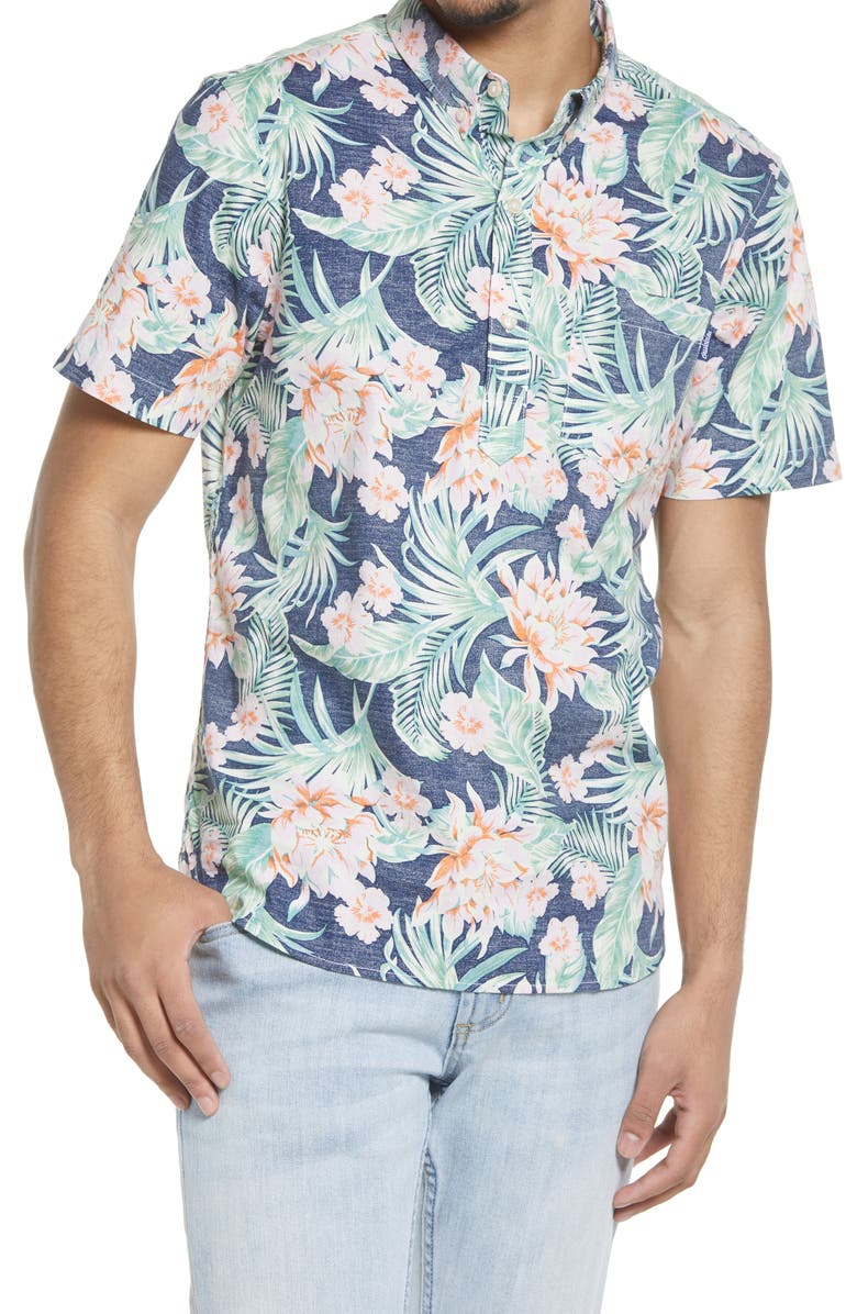 CHUBBIES Chubbie Resort Floral Stretch Short Sleeve Button-Down Shirt, Main, color, BLUE/ GREEN/ CORAL