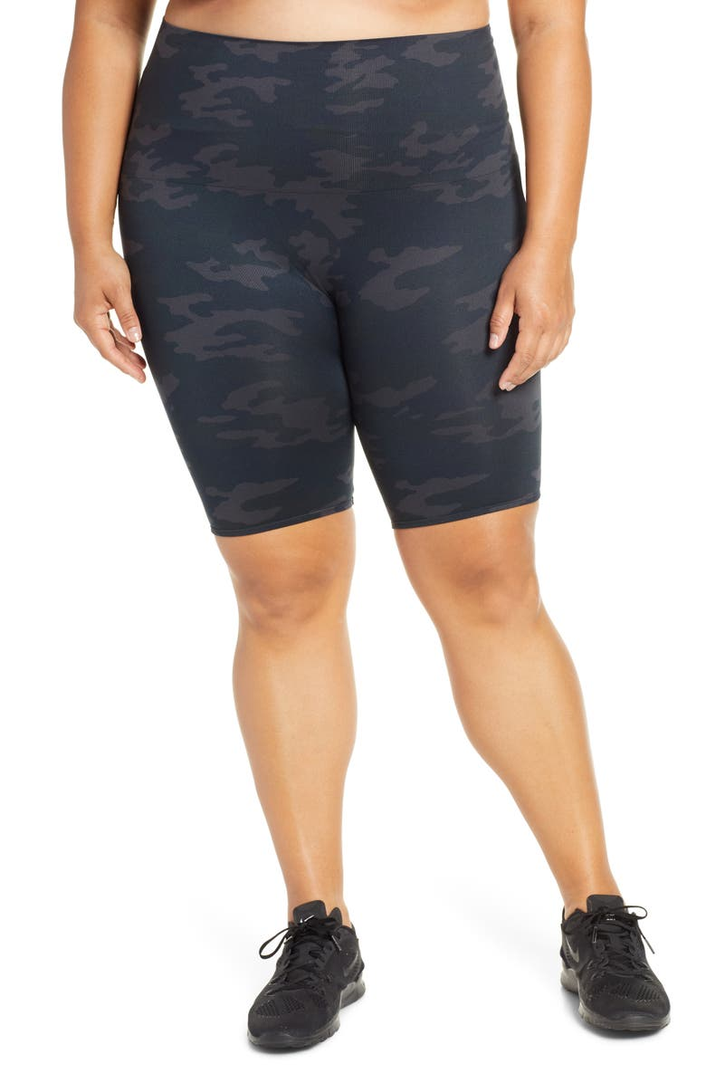 SPANX<SUP>®</SUP> Look at Me Now Seamless Bike Shorts, Main, color, BLACK CAMO