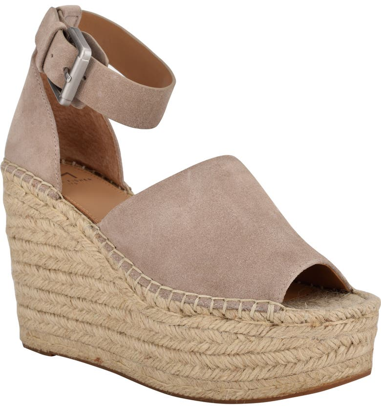 MARC FISHER LTD Adalyn Espadrille Wedge Sandal, Main, color, DARK CLOUD SUEDE