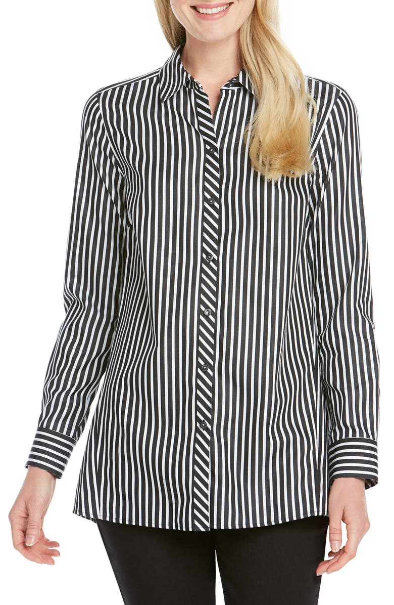 FOXCROFT Emilia Holiday Stripe Shirt, Main, color, 010