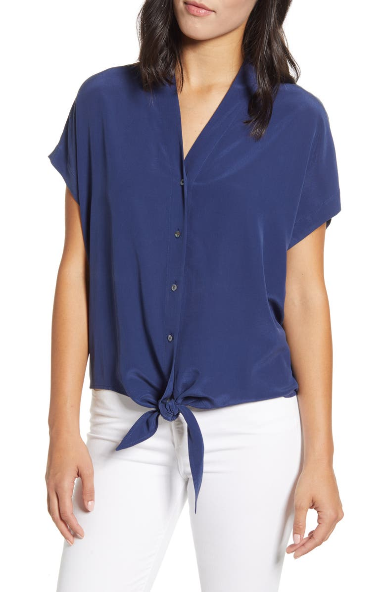 TOMMY BAHAMA Tove Tie Front Silk Shirt, Main, color, 410